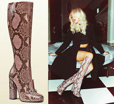 NEW GUCCI CAMPAIGN $3500 PYTHON HORSEBIT KNEE HIGH BOOTS PINK It.39.5 - US 10