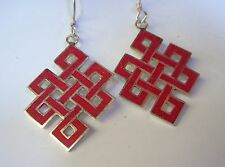 Tibetan Sterling Silver & Coral ENDLESS KNOT Sacred Buddhist Symbol Earrings