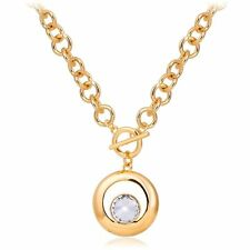"""18K Gold Filled Chunky Swarovski Crystal Circle Pendant Rolo Chain Necklace 18"""""""