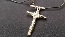 "Stainless Steel Silver Cross Crucifix Pendant Necklace on a 20"" Black Cord"