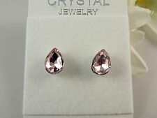 1 Small Pair of 18K White Gold & Austrian Crystal Stud Earrings LIGHT PINK#981
