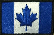 Canada Flag Iron-On Morale Patch Blue & White Version Black Border #02