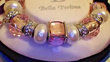 BELLA PERLINA European Crystal Charm Bracelet -  Breast Cancer - Pink/White -NIB