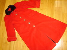 Oscar de la Renta red wool coat black fur collar Neiman Marcus sz 10 1