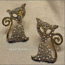 "GOLD PAVE CRYSTAL RHINESTONE METAL CAT 1"" STUD STATEMENT EARRINGS NEW"