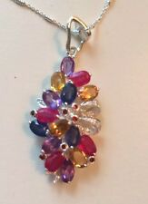 Estate 13.20CTW Natural Multi Stone Ruby, aquamarine, Sapphire,silver Pendant