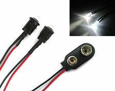 2x White R/C Car Buggy Truck LED + PP3 Connector Kit