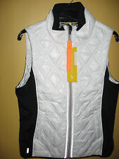 Womens NWT White wBlack LOLE Insulated Puffer Icy Vest 10 - 12 Medium