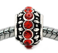 Red Rhinestone July Birthstone Spacer Bead fits Silver European Charm Bracelets