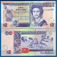 Belize P-66c Two Dollars 2007 Uncirculated Queen Elizabeth 11 Free Shipping