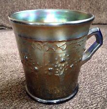 """Vintage Fenton Orange Tree Carnival Glass Standard Mug Cobalt Blue Base 2.5"""""""