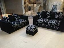 NEW ZINA DYLAN 3+2 SEATER  FABRIC SOFA SUITE IN BLACK WITH GREY