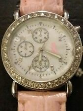 Vintage Pink ribbon ladies wrist watch, running with new battery NR