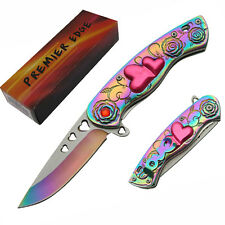 CUPID LOVE Spring Assisted Folding Pocket KNIFE - Hearts Roses Premier Edge