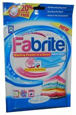 FABRITE WASHING POWDER SHEET NON BIO 20 SHEETS WASHES FRESH LINEN DZT065