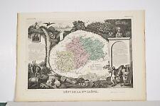 Carte illustrée XIX° département Haute Saône Levasseur Géographe