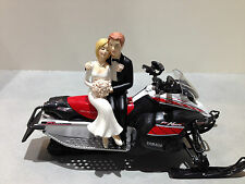 Yamaha Nytro Snowmobile Funny Bride Groom Wedding Cake Topper Red Black White