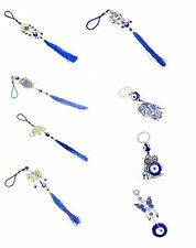 Set of 8  Blue Evil Eye Hamsa Hand Keychain Car Hanging Amulets Good Luck Gift