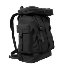 Black European Army HW Canvas Rucksack Shoulder School Student Book Backpack Bag
