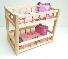 "Wooden toy bunk bed for 2 dolls 14 "", preschool girl's toy ,mattress& pillows"