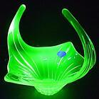 LARGE VAL ST LAMBERT ART GLASS SCULPTURE URANIUM GREEN GLASS BOWL CENTREPIECE