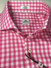 Peter Millar 100% Cotton Pink & White Gingham Check Sport Shirt L NWT $125