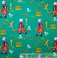 BonEful FABRIC FQ Cotton Quilt B&W Pirate Peter Pan Captain Hook Disney Boy Gold