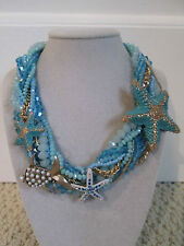 NWT Auth Betsey Johnson Into the Blue Starfish Fish Blue Bead Statement Necklace