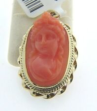 ESTATE 14 KARAT YELLOW GOLD CORAL CAMEO PENDANT VINTAGE ACS-3-585