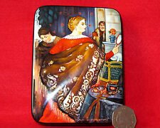 Russian trinket LACQUER Box Kustodiev hand painted Merchant Wife papier mache