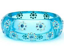BLUE AND CLEAR AB CRYSTAL FLOWER STUD BLUE LUCITE BANGLE BRACELET