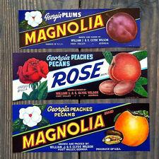 3 Vintage Original GEORGIA PEACHES FRUIT CRATE Citrus Box Labels 1940s Peach GA