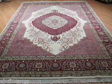 8'6x10 PERSIAN Fine Tabriz Tree-of-Life Hand-made-knotted Wool/Silk Rug 580931