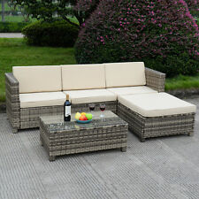5 PC Outdoor Patio Rattan Furniture Set Sectional Cushioned Galvanized Gray