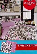 PUNKY SWEETHEART GRAPHIC HEARTS BLACK PINK TWIN COMFORTER SHAM BEDDING SET NEW.