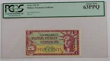 Series 591 Military Payment Certificate Five Cent Note Pcgs Choice New 63 Ppq