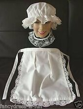 VICTORIAN MEDIEVAL TUDOR MAID COSTUME WAITRESS APRON MOP HAT sissy maid