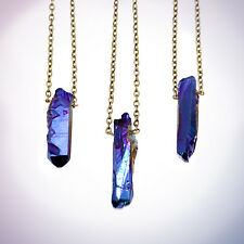 Blue Crystal Bullet pierre necklace-vintage boho-galaxy Quartz Bijoux-Guérison