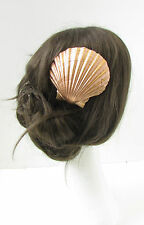 Large Rose Gold Sea Shell Hair Clip Beach Ariel Little Mermaid Boho Vintage 9AW