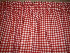 Red White Check Checked Checkered Country Kitchen Window Curtain Valance Decor