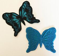 2x Embroidered turquoise butterflies appliques/motifs Iron on or sew on craft