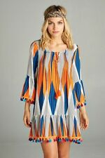 PLUS 1X BOHO BOHEMIAN HIPPY GYPSY PEASANT TASSEL TUNIC TOP BLOUSE BELL SLEEVE