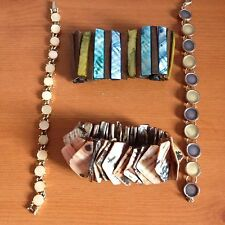 JOB LOT OF WOOD SHELL STONE EXPANDABLE ABALONE BRACELETS