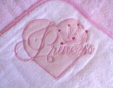 One Baby Girls  Hooded Towel Robe Pink Princess Design-by Soft Touch