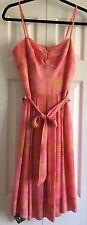 Trina Turk Salmon Pink Marble Print Silk Dress Tie Belt Size 6