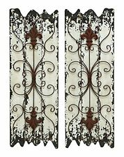 Benzara Elegant Wall Sculpture Wood Metal Wall Decor, 32/11-Inch, Set of 2  New