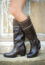 FRYE DARK BROWN JANE 14L STITCH Knee High LEATHER PULL-ON BOOTS 9.5 EUC
