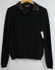 NWT $295 Peserico Tricot Italy Black Cashmere & Wool Sweater; Silk Collar; 6 42