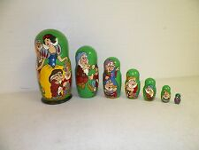 "VINTAGE RUSSIAN WOOD CARVED NESTING DOLLS DISNEY SNOW WHITE SIGNED 8 3/4"" TALL"