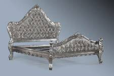 Boudoir Ornate Grey Grand Antique Silver Leaf Ornate French Rococo King Size Bed